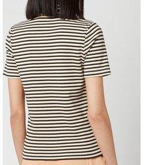 see by chloéwomen's stripe polo top - white beige - l