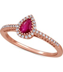 certified ruby (1/2 ct. t.w.) & diamond (1/8 ct. t.w.) ring in 14k rose gold