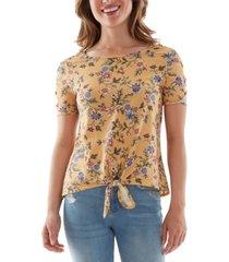 bcx juniors' floral-print tie-hem top