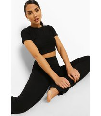 basic ingekorte wide leg pyjama, black