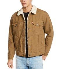 levi's men's sherpa canvas trucker jacket