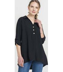 blusa con botones en el frente negro lorenzo di pontti