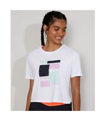 "camiseta feminina manga curta cropped esportiva ace gym"" decote redondo branca"""