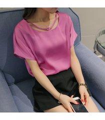 camiseta de gasa de color sólido de manga corta para mujer nueva.-morado