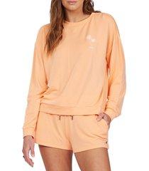 women's roxy surfing by moonlight crewneck sweatshirt, size medium - orange