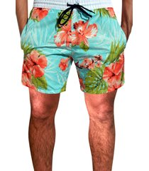 shorts  praia  floral estampado ks microfibra  c/ bolsos laterais ref.397.12 azul