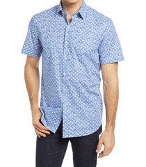 men's bugatchi shaped fit dot print stretch short sleeve button-up shirt, size medium - blue