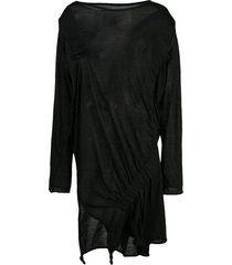 yohji yamamoto elastic gathered top - black