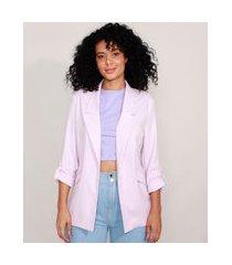 blazer alongado com martingale lilás