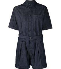 dsquared2 belted short-sleeve playsuit - blue