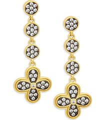 14k gold & crystal drop earrings