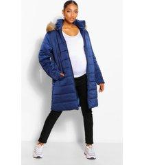 zwangerschaps gewatteerde jas met faux fur zoom, marineblauw