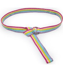 rainbow color striped double ring buckle canvas belt
