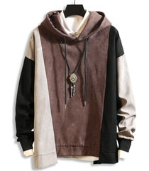 color-blocking drop shoulder asymmetrical hem hoodie