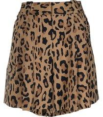 blazé milano leopard print fluid shorts - brown