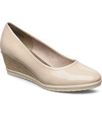 woms court shoe sandalette med klack espadrilles beige tamaris