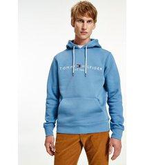 tommy hilfiger men's organic cotton classic logo hoodie dusty indigo - xs