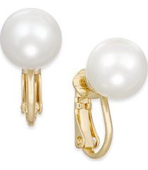 charter club gold-tone imitation pearl (10mm) clip-on earrings, created for macy's