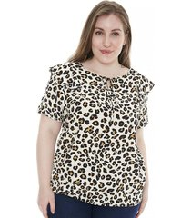 blusa natural minari voti animal print plus size