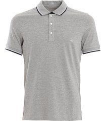 fay double collar grey polo shirt