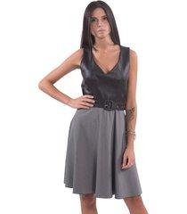 lijfje jurk met leder - f120w14061w060f6
