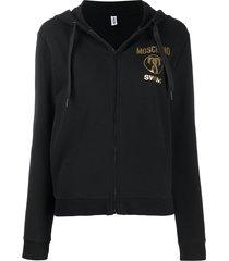 moschino swim zipped hoodie - black