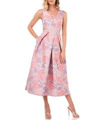women's kay unger maxime floral jacquard midi dress
