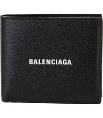 balenciaga man hammered leather black folding wallet with logo