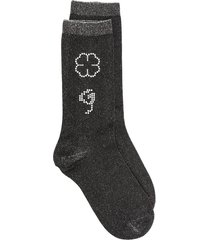 ganni rhinestone-embellished lurex socks - black