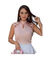 blusa butiq regata social com renda e botões rosê