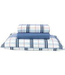 jogo de cama queen santista royal madras, azul, 4 peças