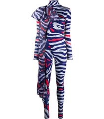 atu body couture animal print bodysuit - grey