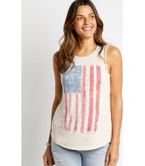 maurices womens tan americana braided arm tank top beige