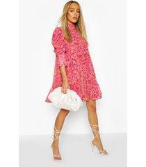 gesmokte jurk met print, ruches aan de hals en pofmouwen, roze