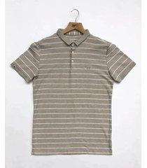 camiseta polo hombre rayas horizontales delascar - beige cp089