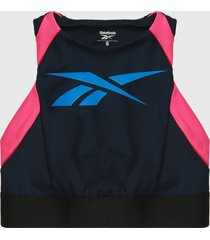 top azul-fucsia reebok workout ready low-impact bralette