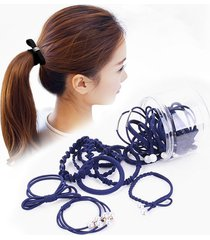 24 pcs / caja simple creative lady pearl bowknot estilo banda de pelo (azul marino)