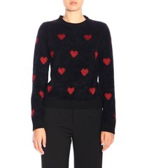 red valentino sweater red valentino pullover with maxi hearts in lurex jacquard