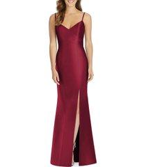 women's alfred sung surplice neck satin twill trumpet gown, size 16 - burgundy