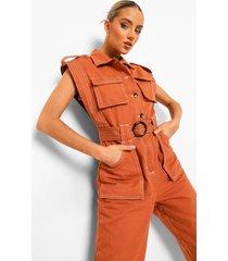 denim utility jumpsuit met contrasterende stiksels, rust