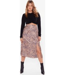 womens plus leopard print skirt with slit - gold
