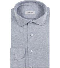 camicia da uomo su misura, maglificio maggia, grigia piquet cotone, quattro stagioni | lanieri