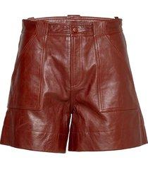 lamb leather shorts leather shorts brun ganni