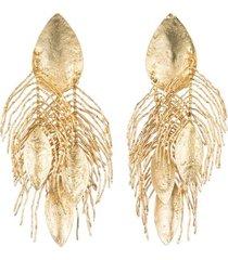 24k gold platedss peacock feather clip earrings, women's, josie natori