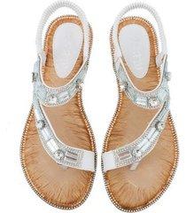 sandalias planas de rayas a cuadros para mujer-blanco