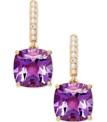 amethyst (3-9/10 ct. t.w.) and diamond accent drop earrings in 14k yellow gold (also available in blue topaz)
