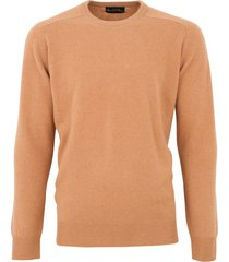 alan paine trui light camel classic fit ronde hals