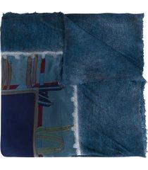 avant toi belt print scarf - blue