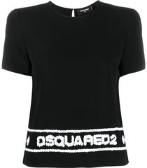 dsquared2 logo stitched t-shirt - black