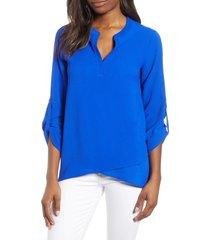 women's gibson x international women's day erin cross front tunic blouse, size xx-small - blue